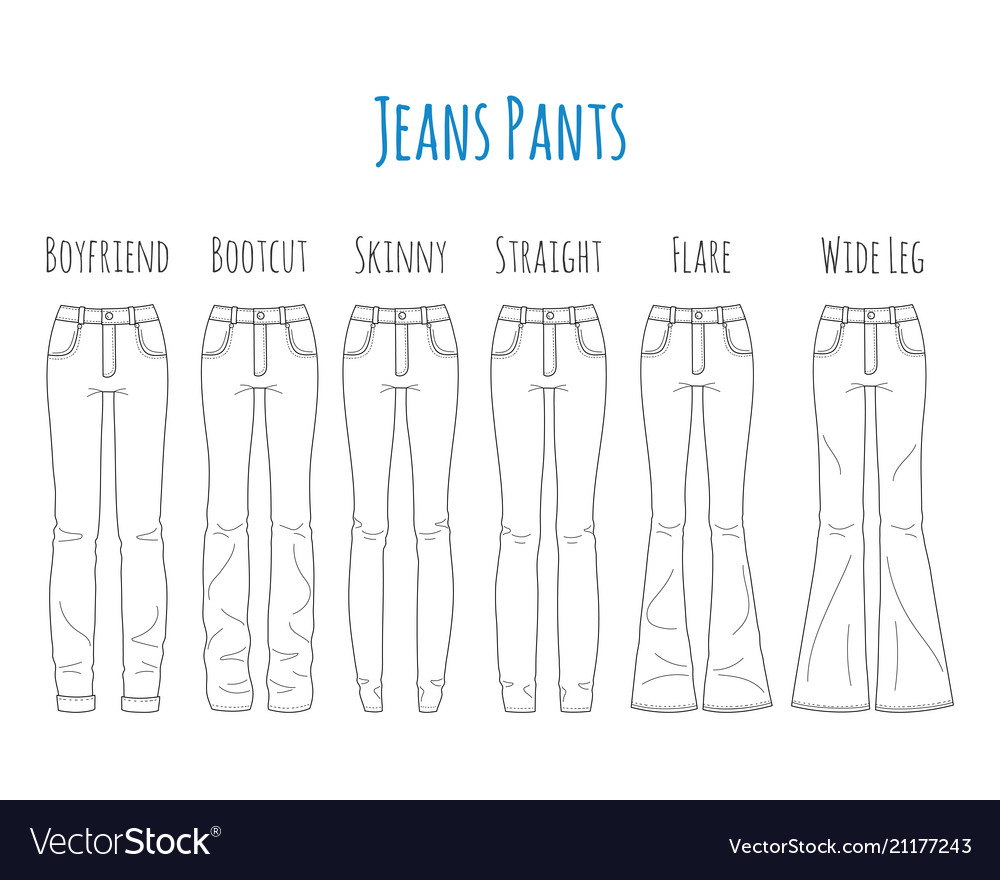 Jeans pants collection sketch