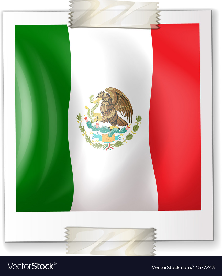 Mexico flag on square paper vector image