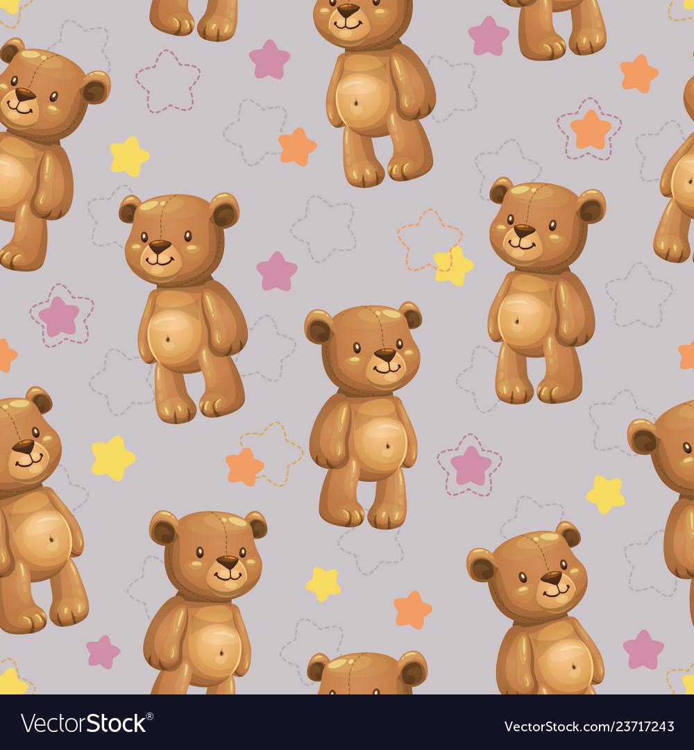 Seamless pattern with little cute cartoon stuffed