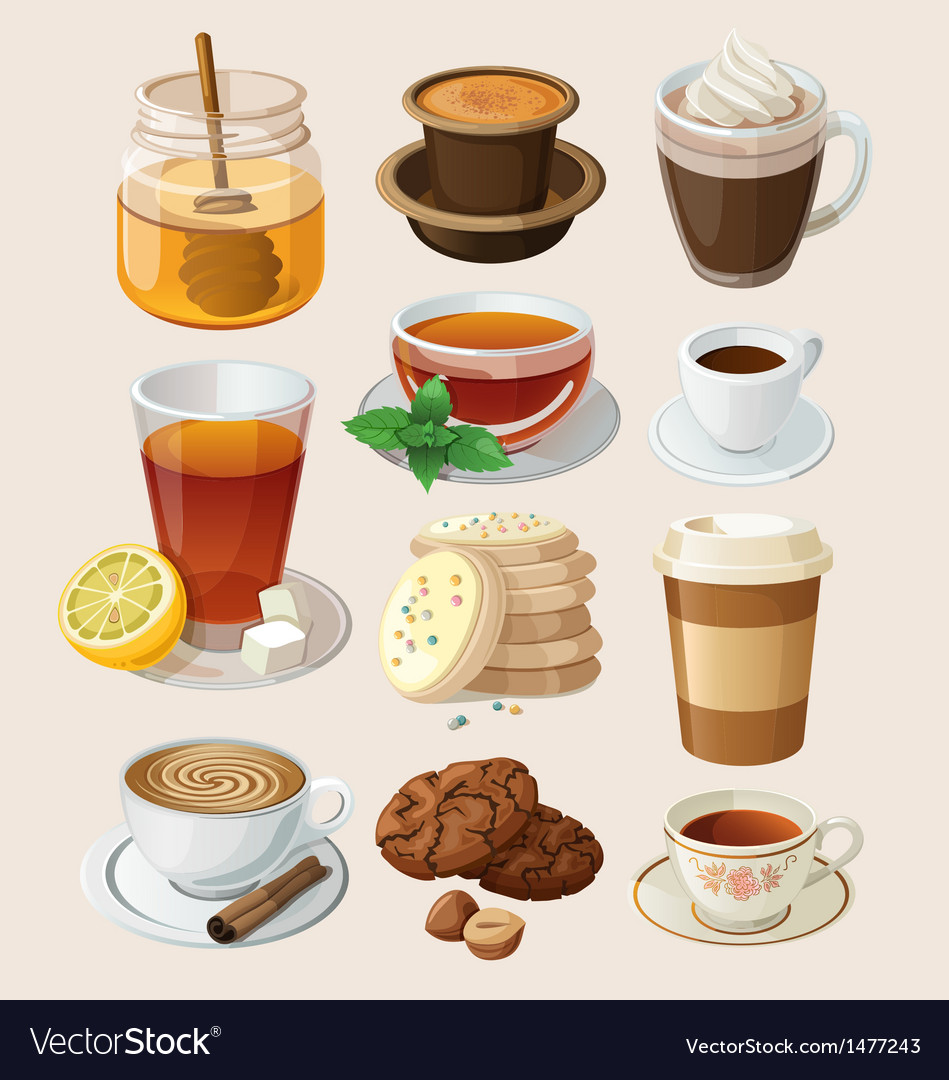 Set for coffee break or tea time vector image