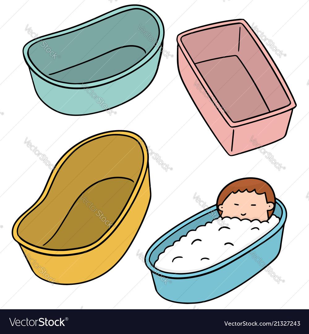 Set of baby bath tub Royalty Free Vector Image