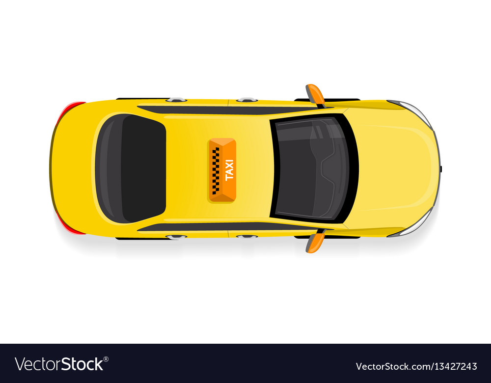 Taxi Car Top View Flat Style Icon Royalty Free Vector Image