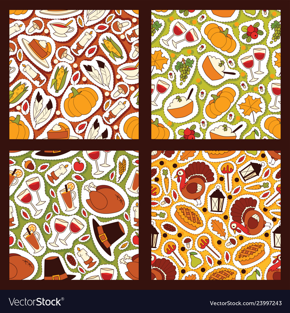 Thanksgiving food seamless pattern traditional