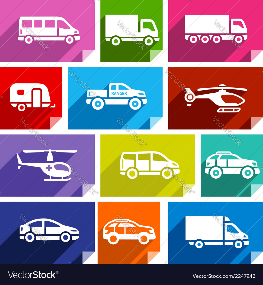 Transport Flat Icon Bright Color 03 Vector Image