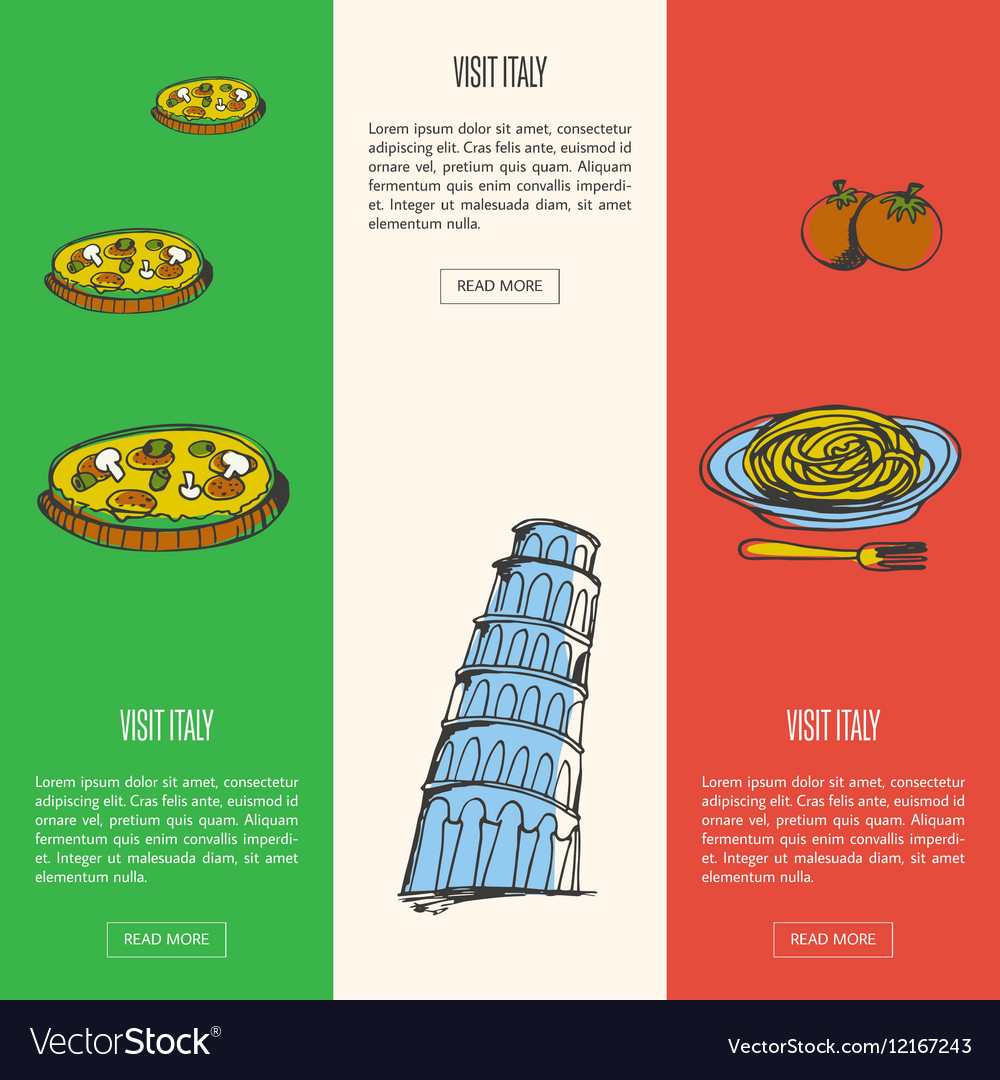 Visit Italy Touristic Web Banners vector image