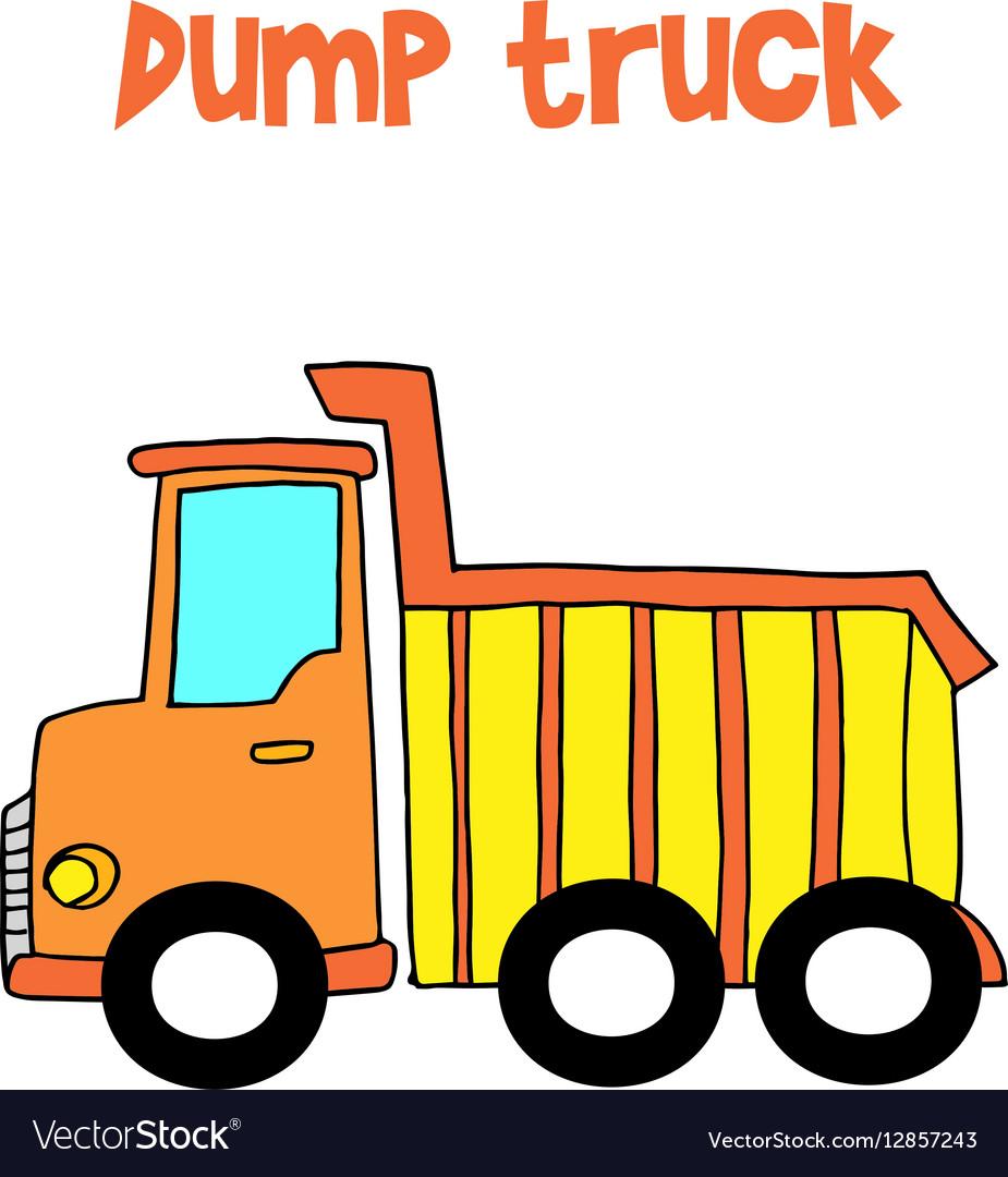 yellow dump truck cartoon royalty free vector image rh vectorstock com cartoon dump truck images cartoon dump truck images