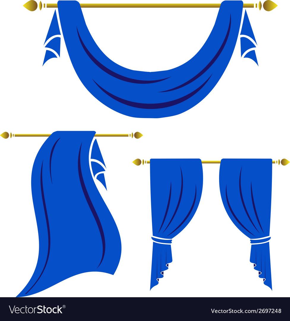 Blue curtain vintage set on white background