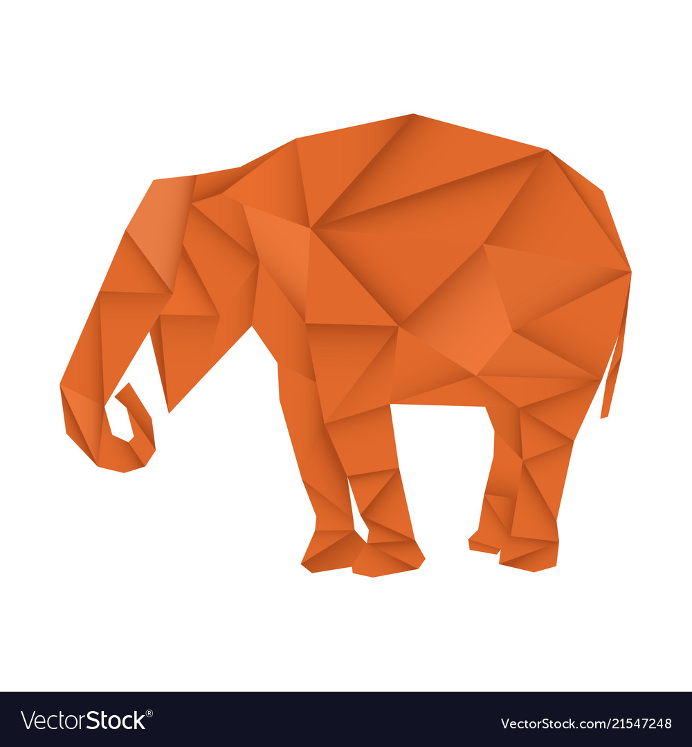 Brown elephant polygonal