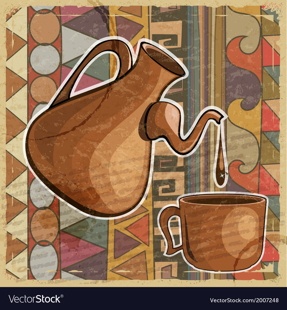 Coffee pot and cup of coffee in the ethnic style vector image