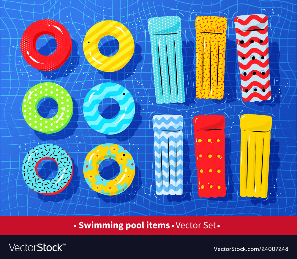 Collection of pool rafts and rubber rings