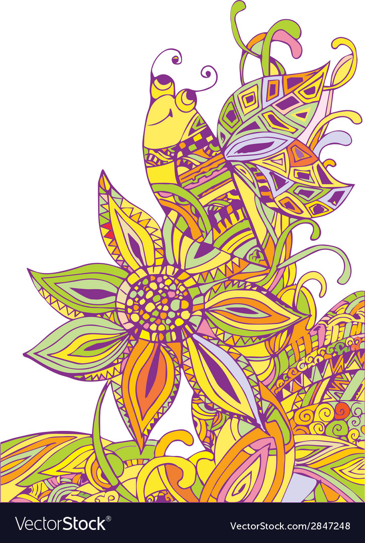 Doodle bee on flower vector image