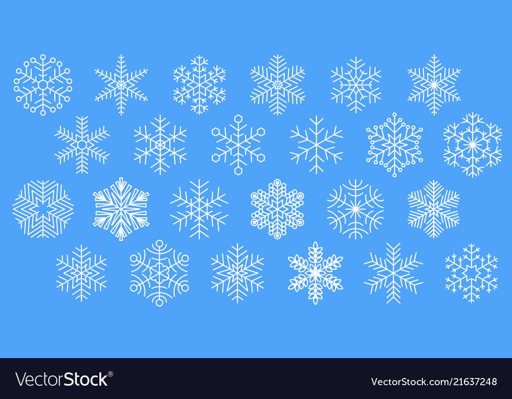 Flat design line snowflakes icon set