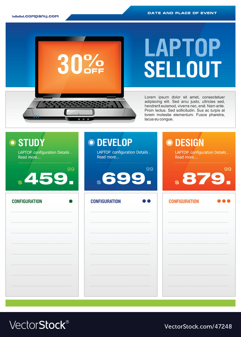Laptop sale flyer vector image