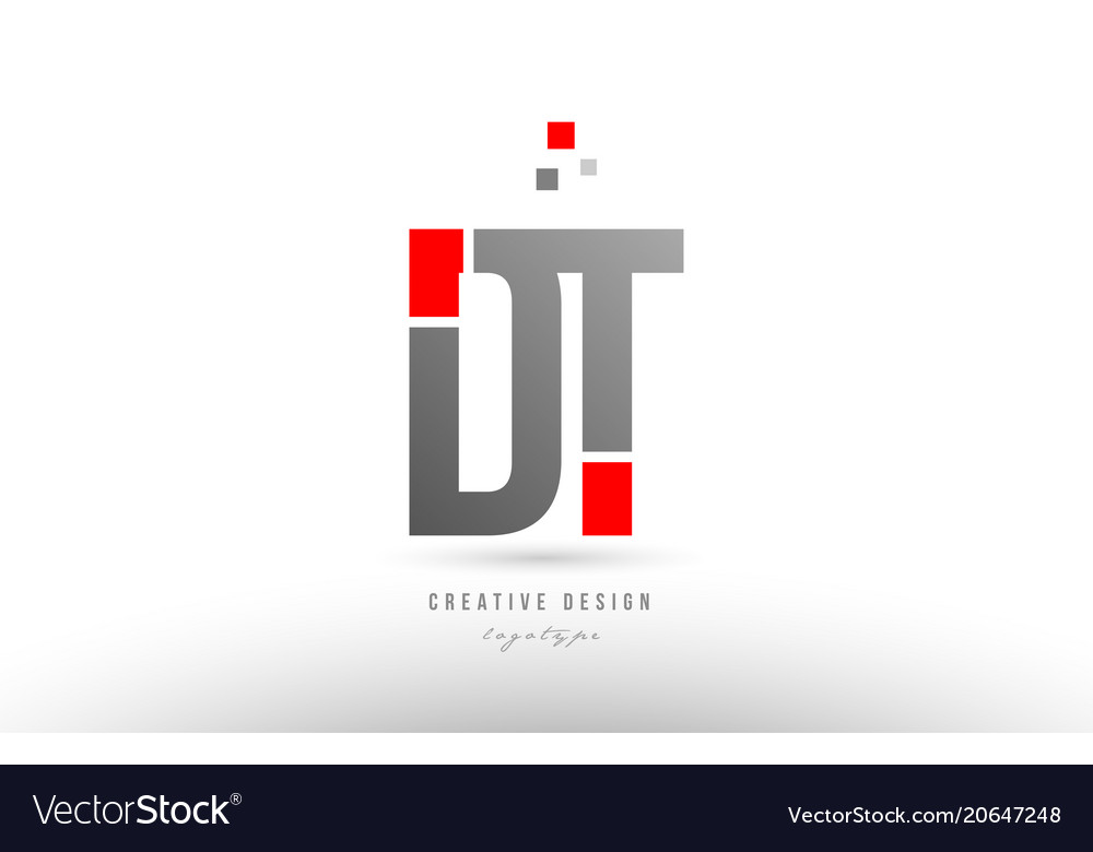 Red grey alphabet letter dt d t logo combination
