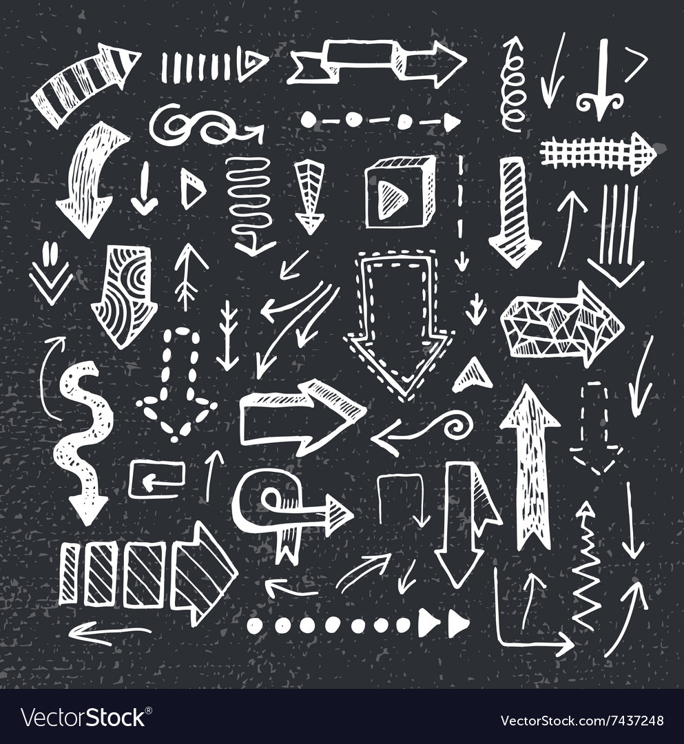 Set hand drawn doodle arrows isolated
