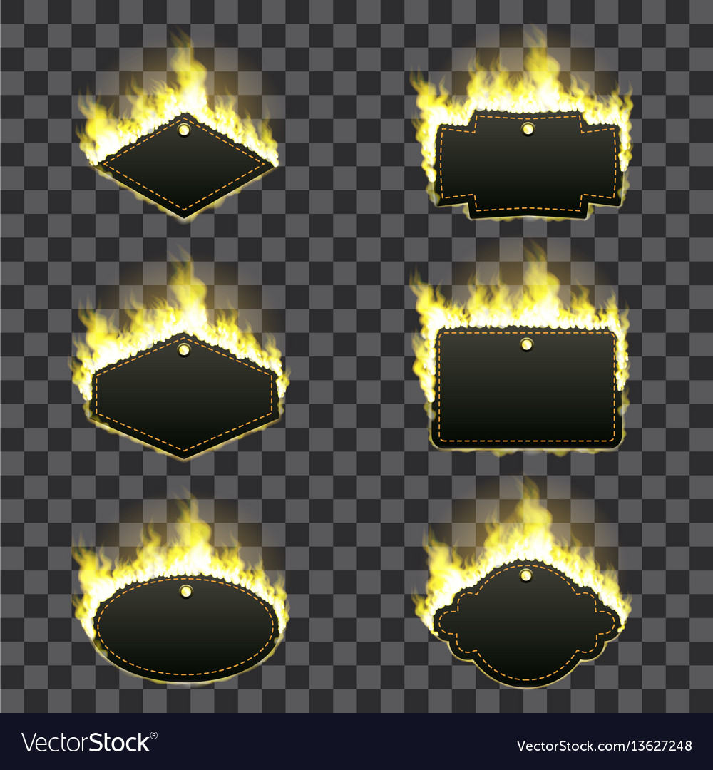 Set of six frames surrounded with yellow flame vector image