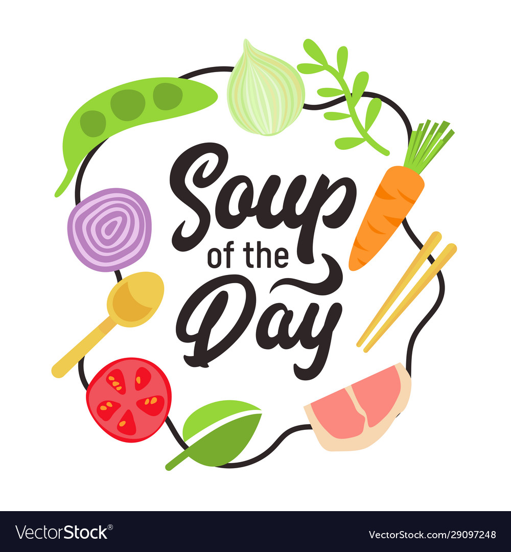 Soup day design concept with typography and