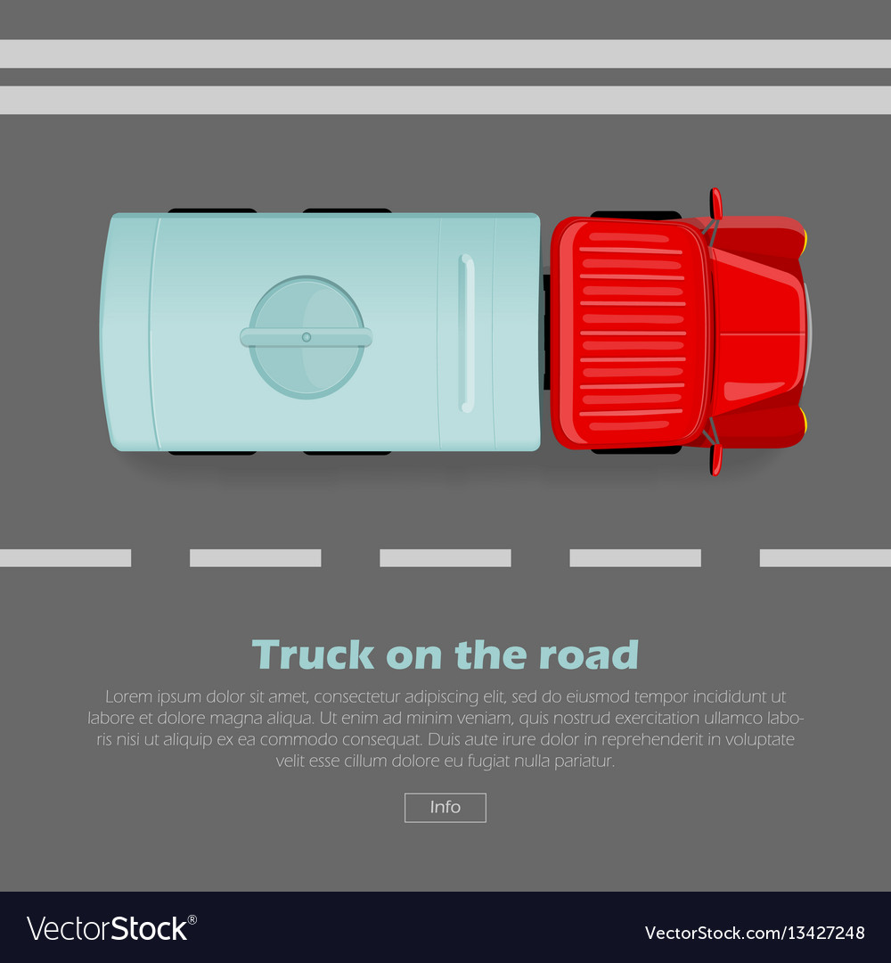 Truck on road conceptual flat web banner