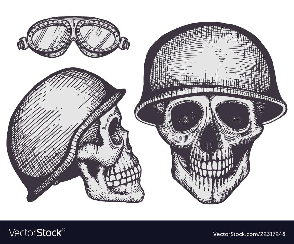 Vintage style bikers human skulls isolated on
