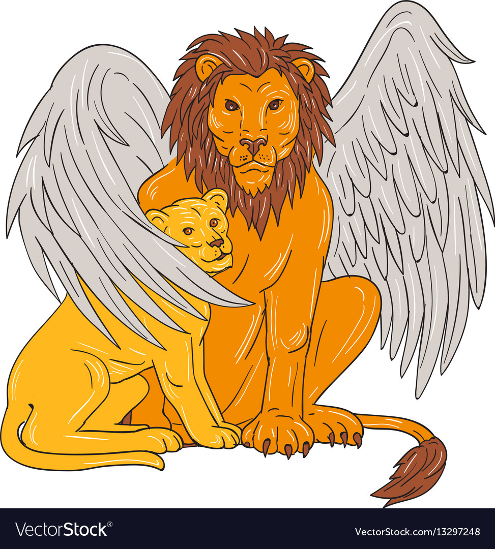 Winged lion with cub under its wing drawing