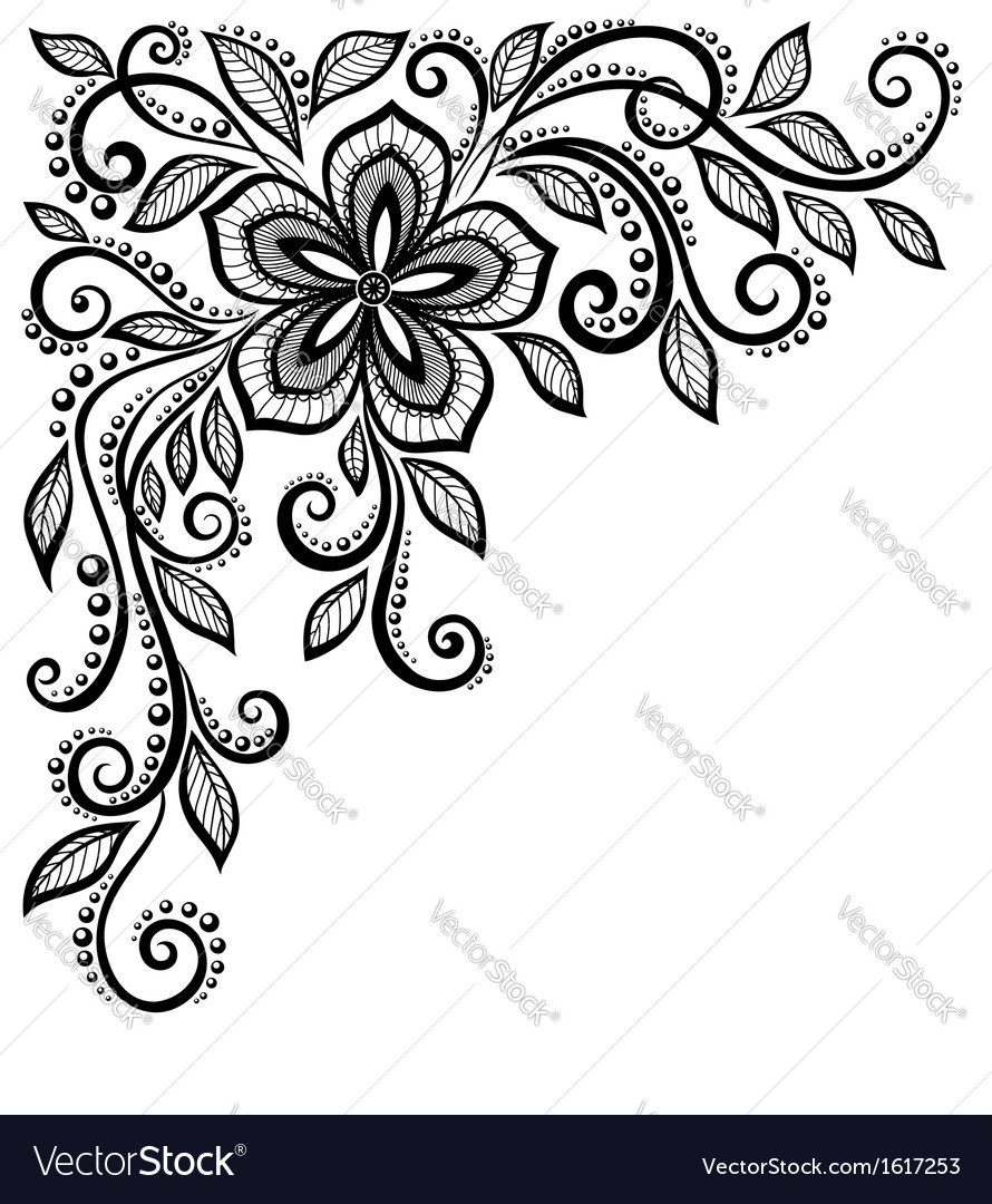 Black-and-white lace flower in corner