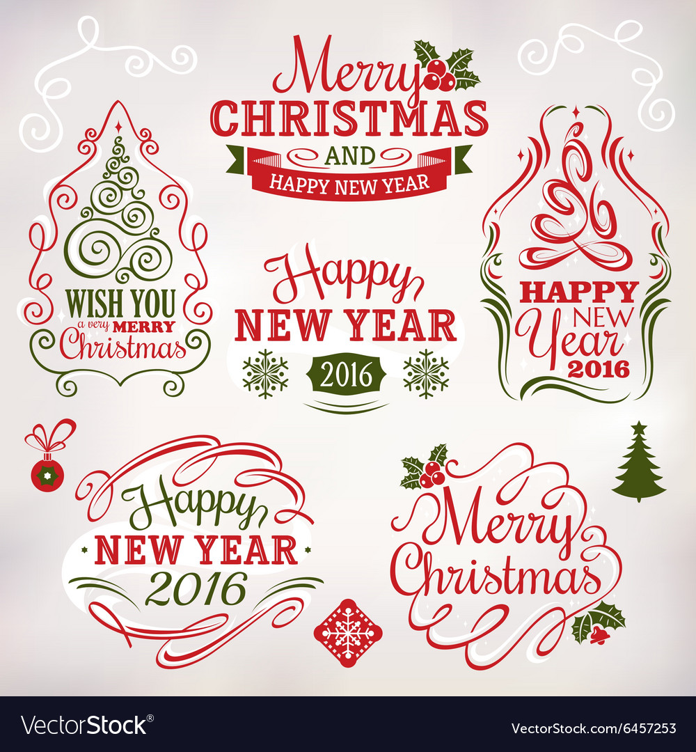 Christmas and New Year decoration labels