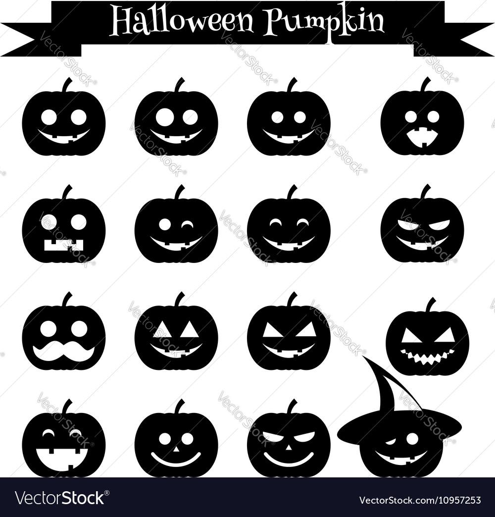 Cute halloween pumpkin emoji icons set Emoticons