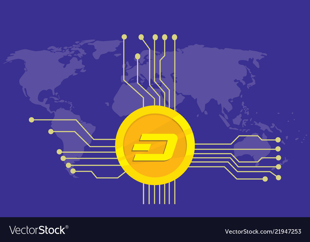 Dash cryptocurrency brand icon option with golden