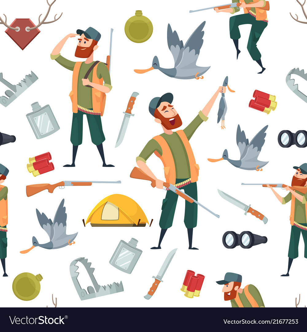 Duck hunters pattern seamless background with