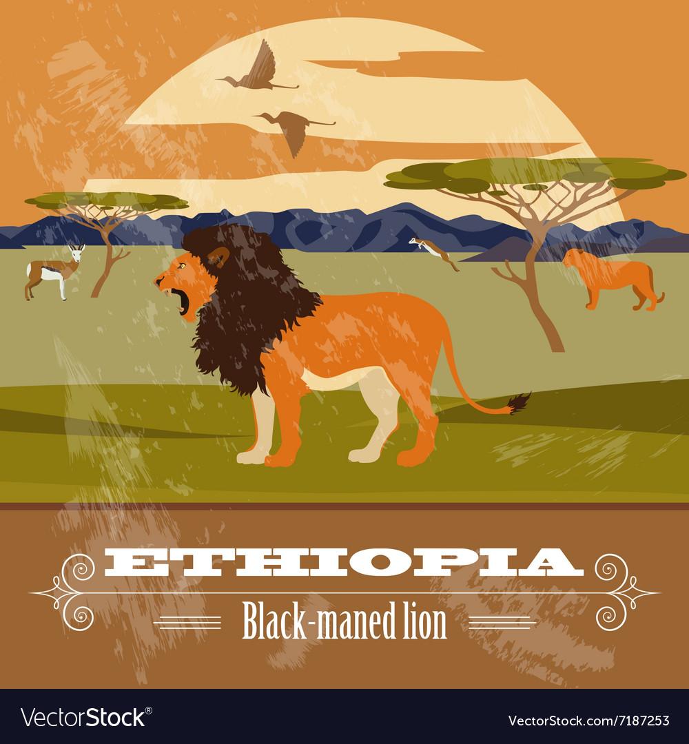 Ethiopia landmarks Retro styled image