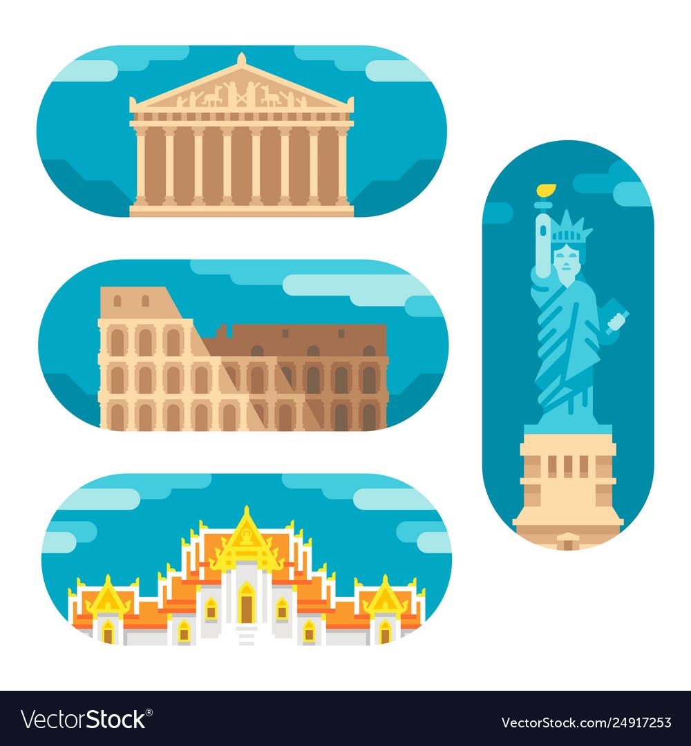 Flat design landmarks