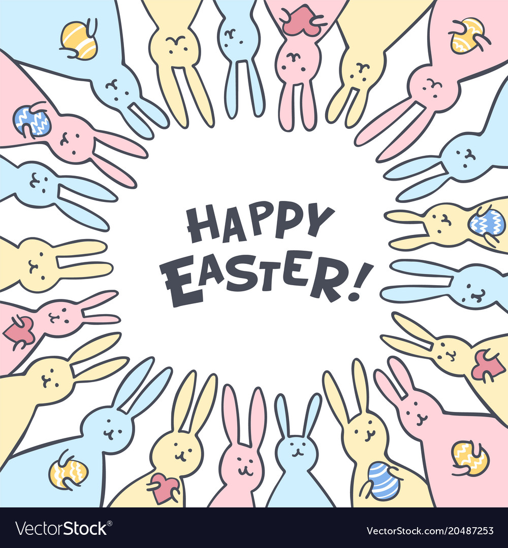 Funny bunny easter greeting card with white easter