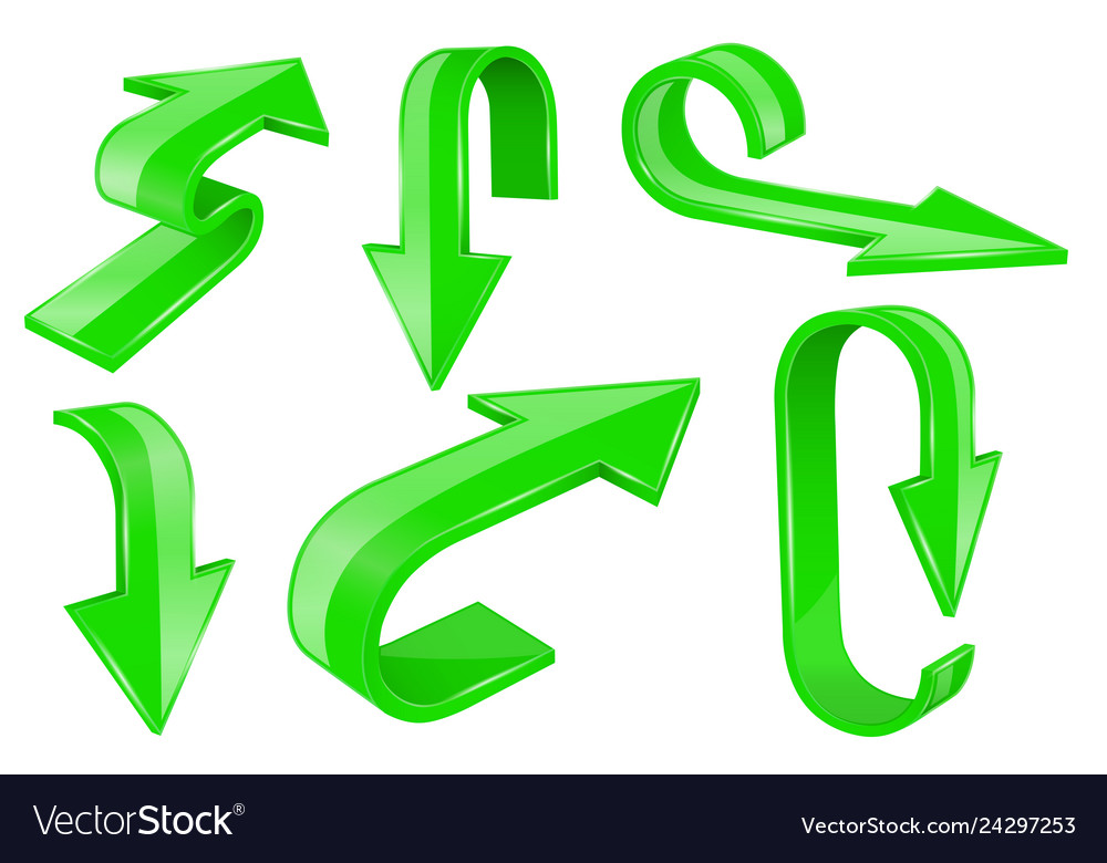Green bold arrows 3d shiny signs
