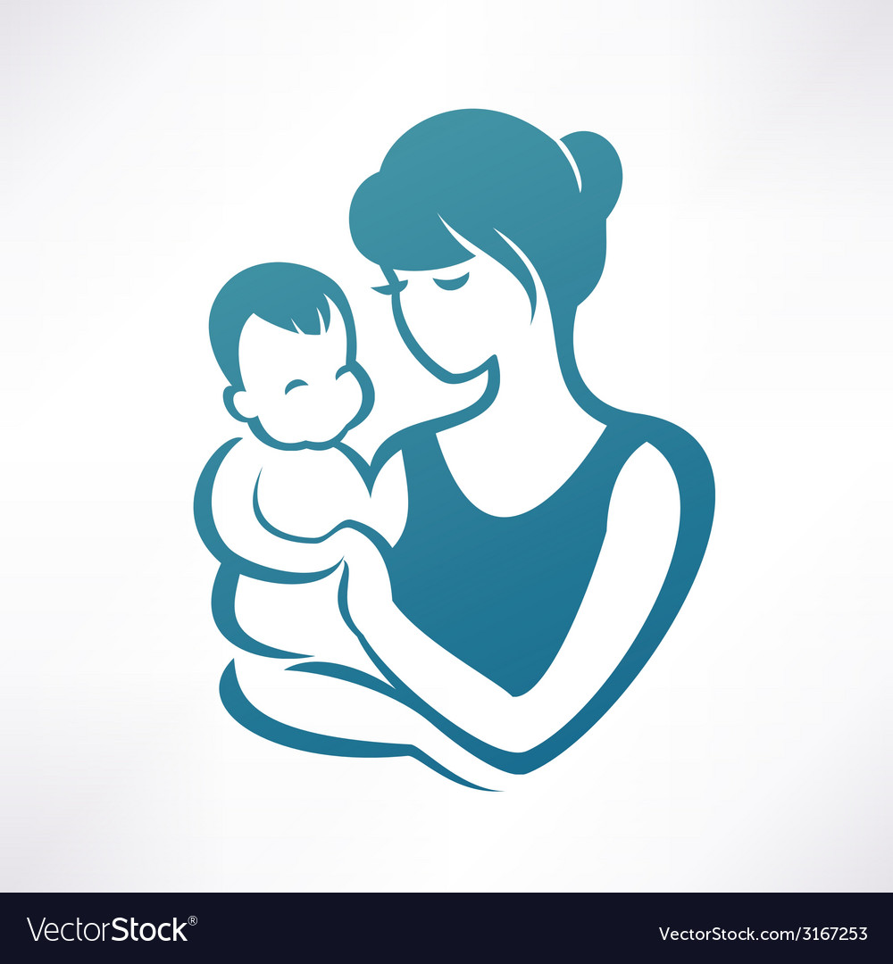 Mother And Baby Stylized Symbol Royalty Free Vector Image
