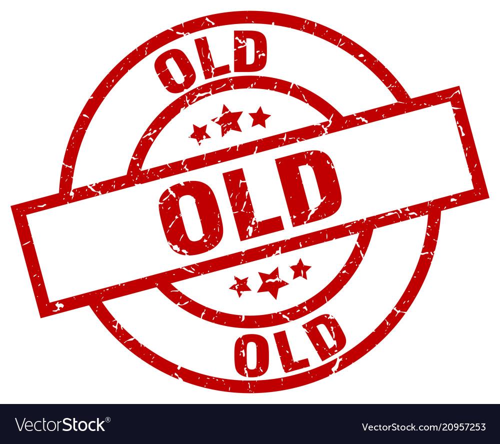 Old round red grunge stamp