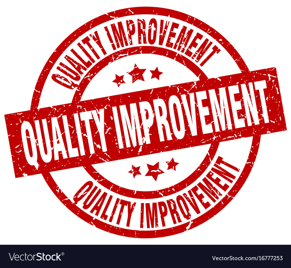 Quality improvement round red grunge stamp vector image on VectorStock
