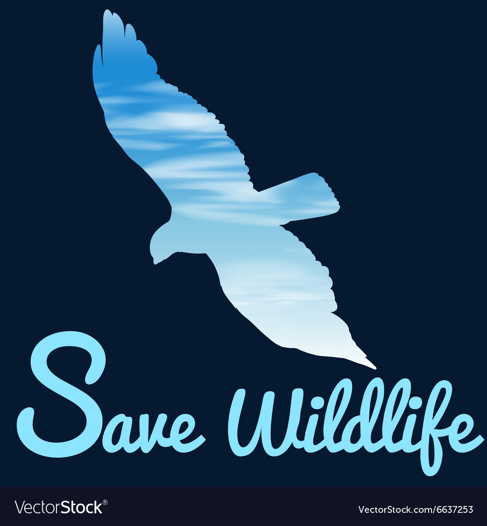 Save wildlife theme with bird flying vector image