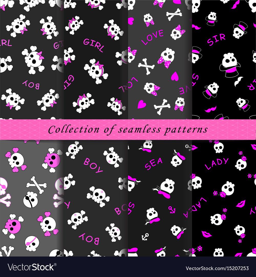 Set of skull seamless patterns vector image