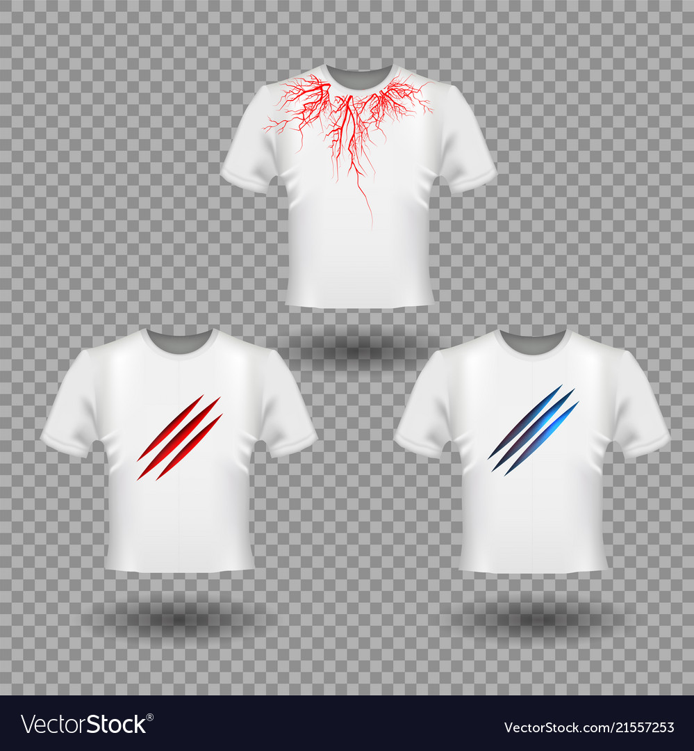 t shirt mockup with claws scratches and human vector image