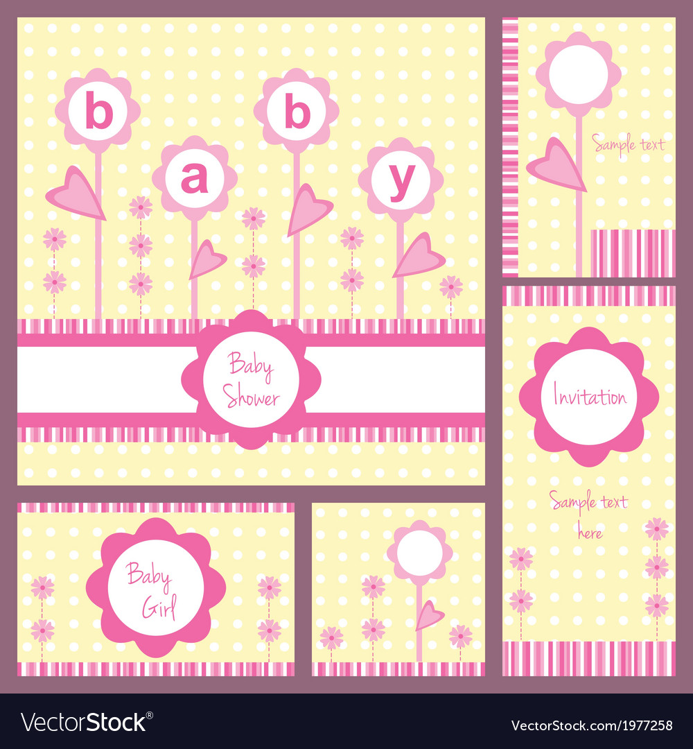 Baby card set flowers girl vector image