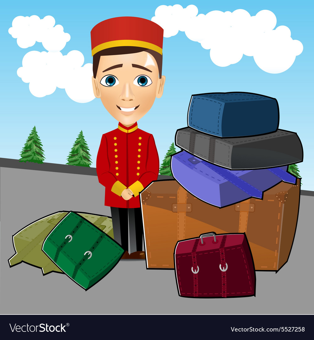 Bellboy standing near luggage