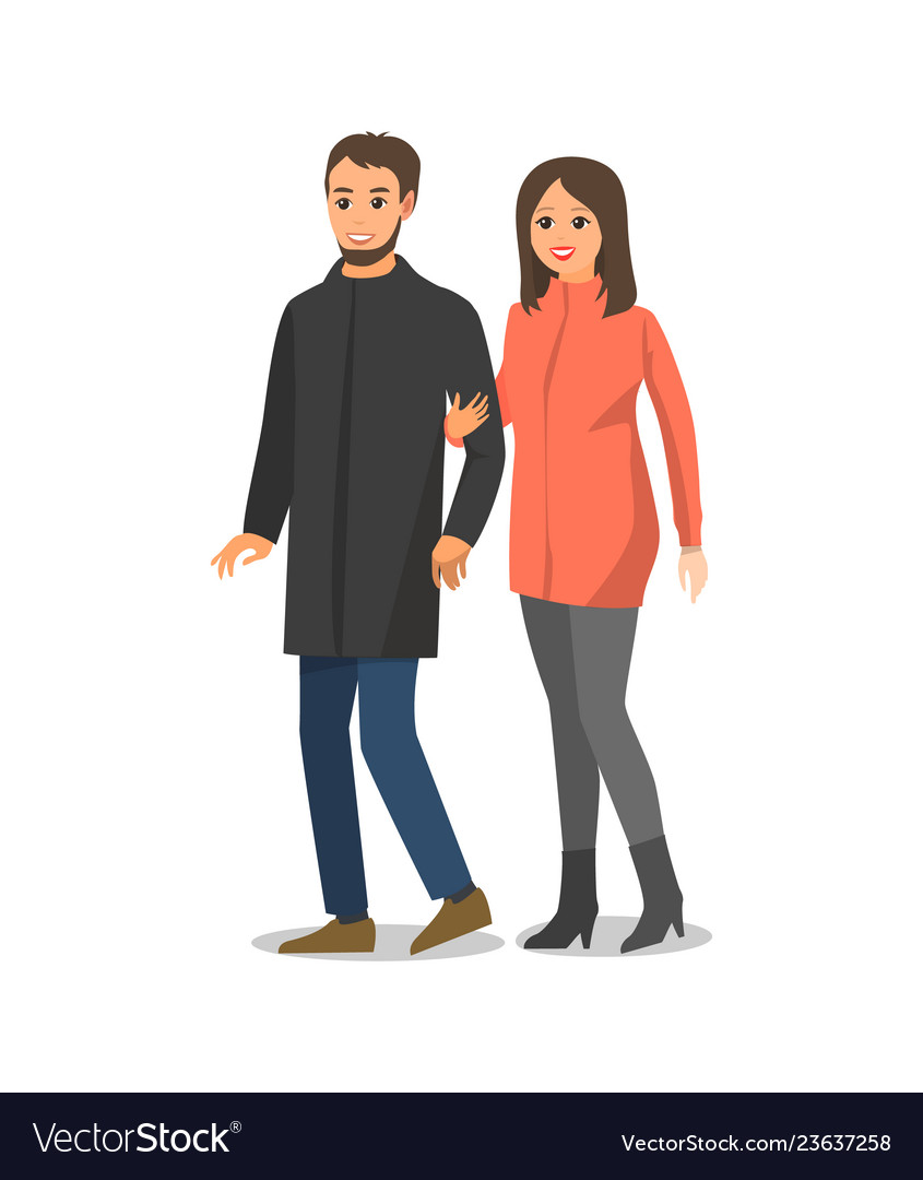couple walking and hugging isolated people vector image vectorstock