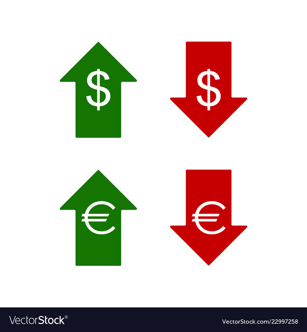 Euro and dollar icons up and down