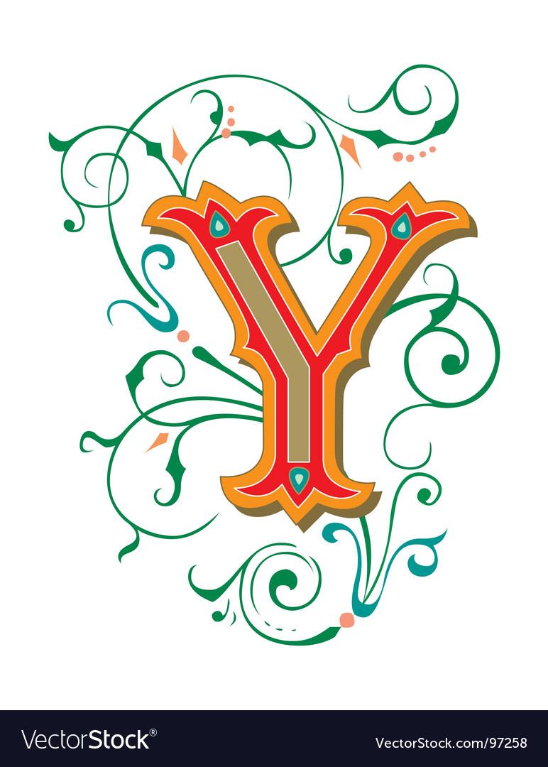 Floral letter y