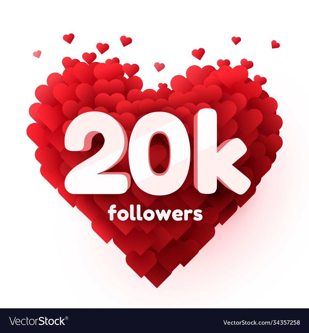 Followers thank you red heart for social network