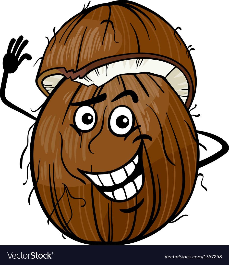 Funny coconut fruit cartoon vector image