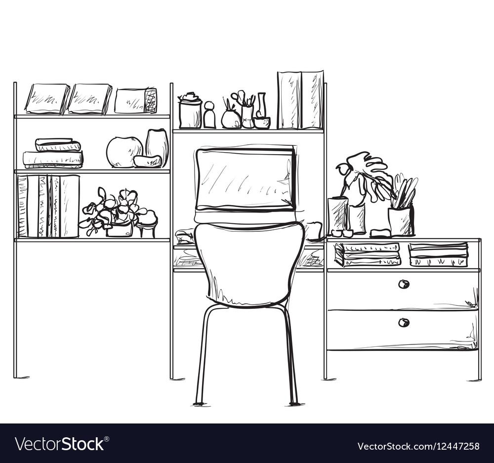 Hand drawn sketch of modern workspace with work