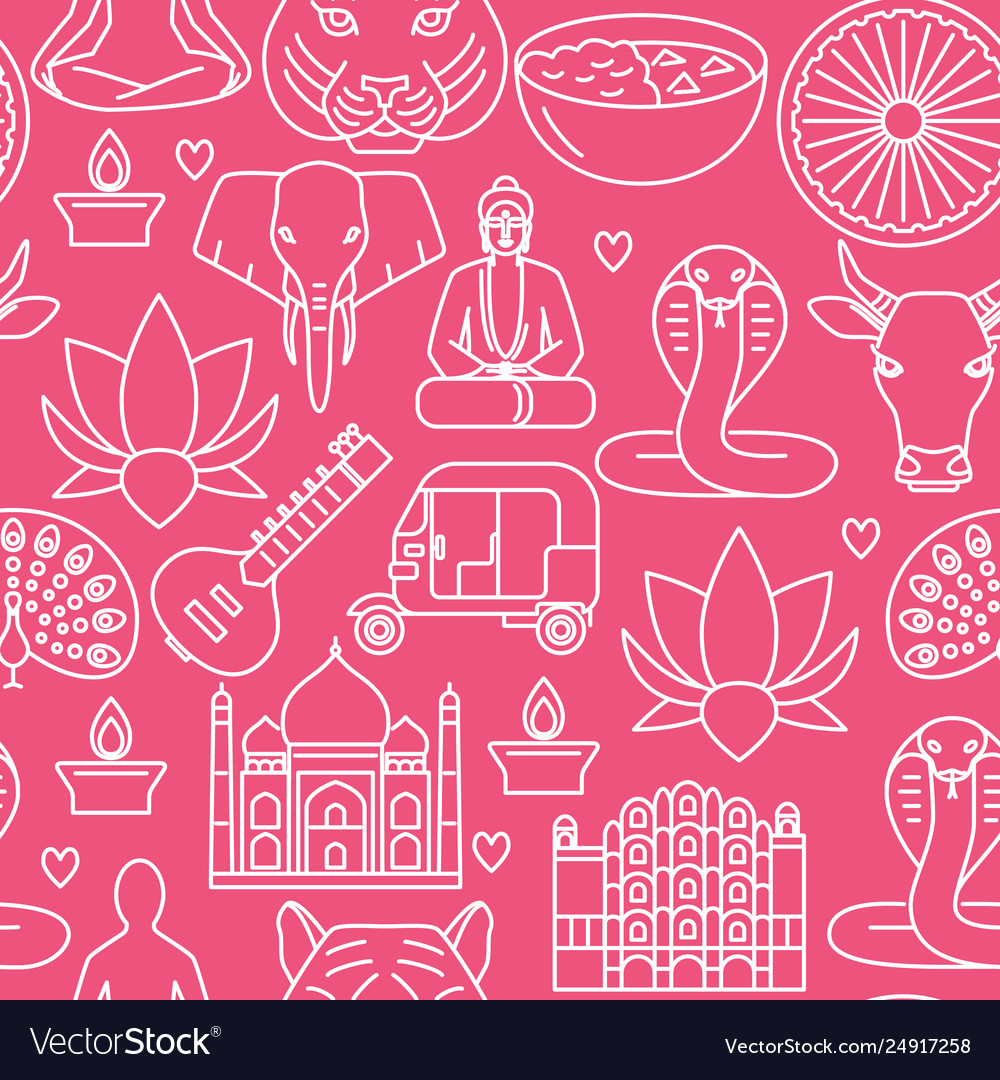 India seamless pattern in thin line style