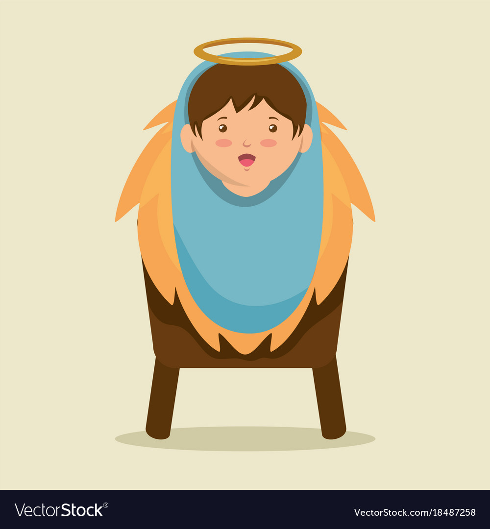 merry christmas baby jesus lying in a manger vector image - Merry Christmas Baby