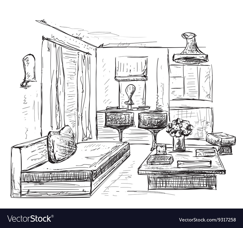 Modern interior room sketch